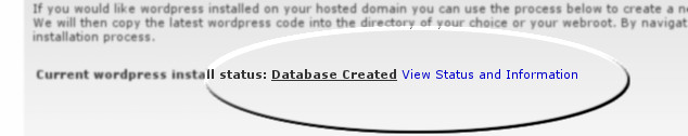 WordPress install status
