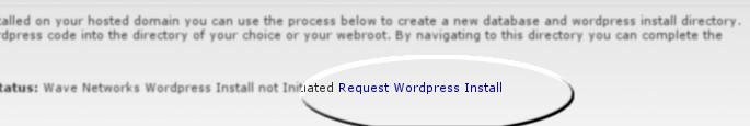 Request WordPress install